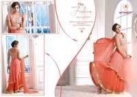 fancy Peach Georgette Embroidered Anarkali Suit