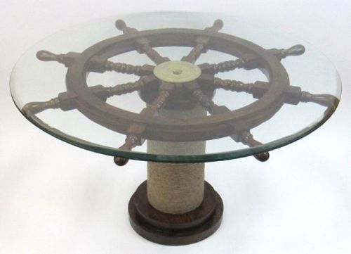 Ship Wheel Table With Glass & Rope Base
