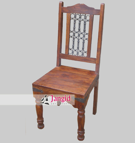 Sheesham Wooden Iron Grill Fitted Dining Chair