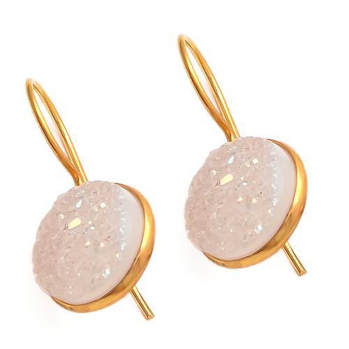 White Druzy Gemstone Earring