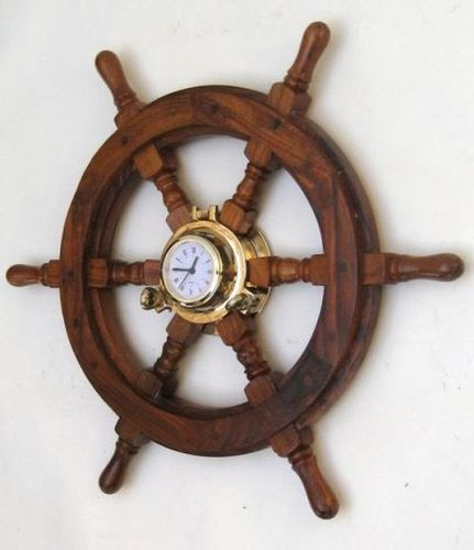 Porthole Ship Wheel Clock