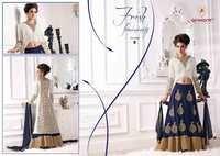 Fancy Whity Blue Velvet Silk Designer Embroidered Suit