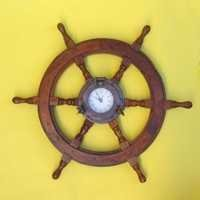 Nautical Wooden Ship Wheel Iron Porthole Clock