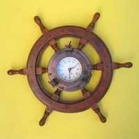 Wooden Ship Wheel Iron Porthole Clock
