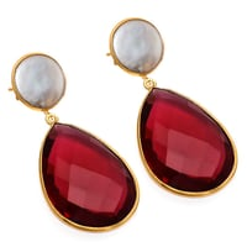 Garnet & Pearl Gemstone Earring