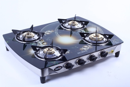 Four Burner LPG Glass Gas Stove