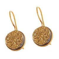 Golden Druzy Gemstone Earring