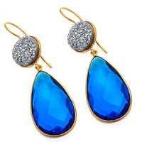 Blue Topaz & Druzy Gemstone Earring