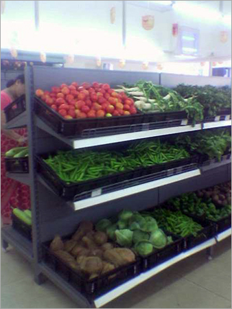 Cantilever Rack Super Markets Center Back To Back Racks Fruits Vegetables Retail Store