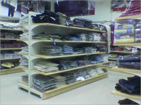 Cantilever Wooden Display Rack Cloth Super Market Retail Display