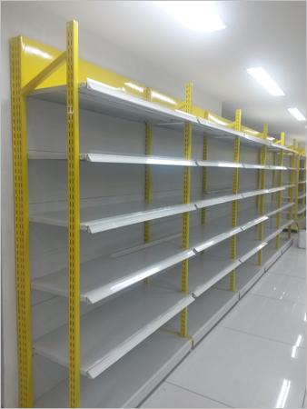 Slotted Flexible Four Pole Metal Display Racks Display Unit Retail Super Market Stores