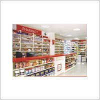 Slotted Flexible Wall Four Pole System For Pharmacy Medical Stores Shops