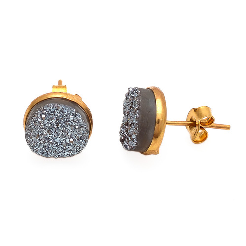 Silver Druzy Gemstone Connector