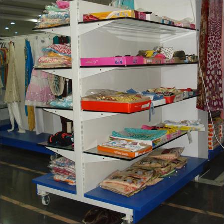 Cantilever Glass Display Rack Cloth Super Market Retail