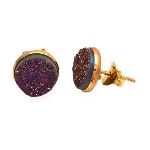 Purple Druzy Gemstone Ear Stud