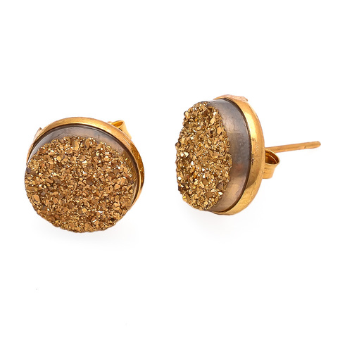 Golden Druzy Gemstone Ear Stud