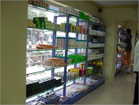 Flexible Slotted Four Pole Elevation Display Racks Glass Disply Unit Retail Stores