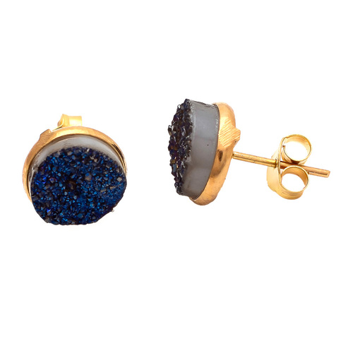 Blue Druzy Gemstone Ear Stud