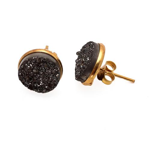 Black Druzy Gemstone Ear Stud