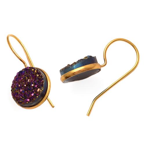 Purple Druzy Gemstone Earring