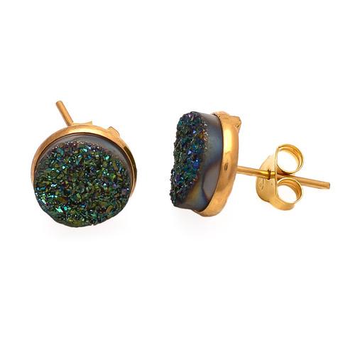 Green Druzy Gemstone Ear Stud