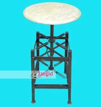 Indian Adjustable Bar Stool with Wooden Top