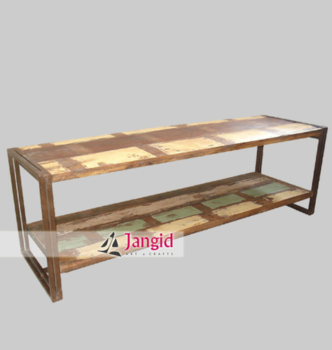 Reclaimed Wooden Top Industrial Indian Bench