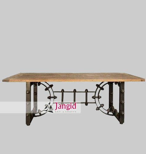 Indian Heavy Iron Base Industrial Dining Table