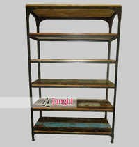 Industrial Iron and Reclaimed Wooden Bookshelf