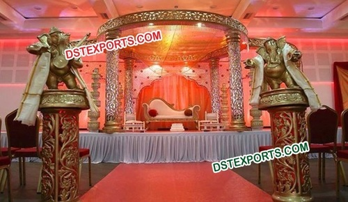 Wedding Gold Carving Mandap Set