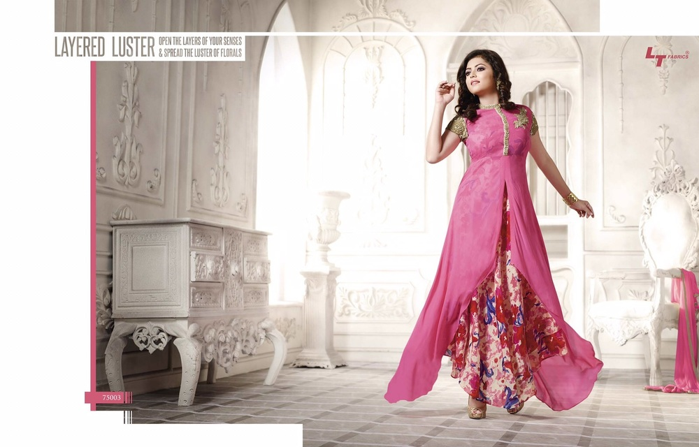 Georgette Fabrics Embroidery Dress Material