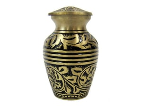 Brass Keepsake Urn Set (Brass _ Black Leaves)