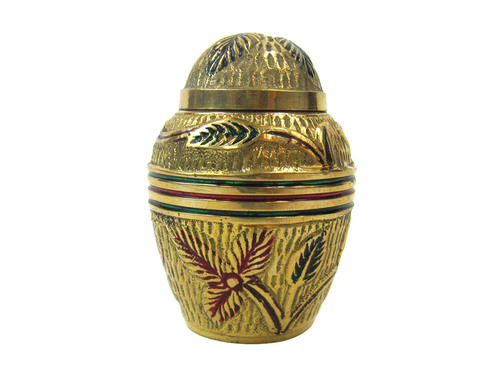 Brass Keepsake Urn Set (Red Flowers)