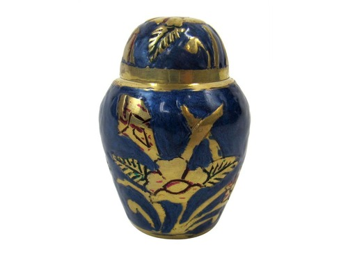 Brass Keepsake Urn Set (Blue _ Brass)