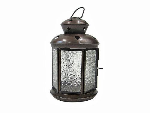Lantern Antique/Glass Roung