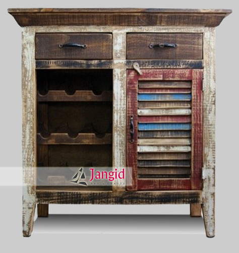 Recycled Indian Wooden Wine Bar Cabinet