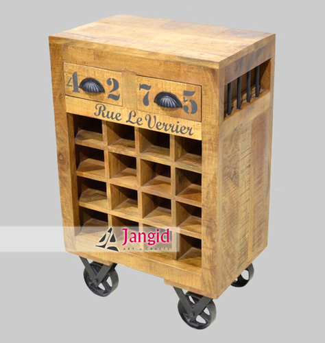 Indian Solid Mango Wooden Wine Rack
