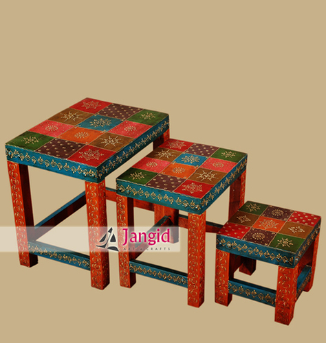 Indian Painted Wooden Nested Stool Set