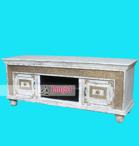 Distressed Wooden White Washed TV Cabinet