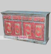Multi Coloured Distressed Painted Wooden Sideboard