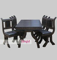 Traditional Cart Handmade Iron Fitted Wooden Dining set