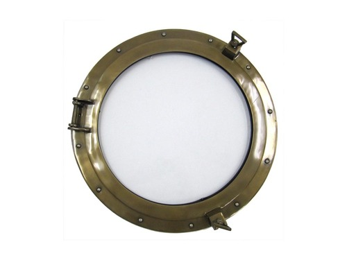 Aluminum Porthole 21 w Glass & Antique Finish