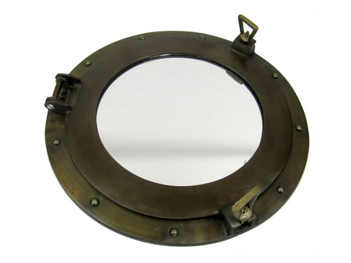 Aluminum Porthole Mirror 15 Antique Brass