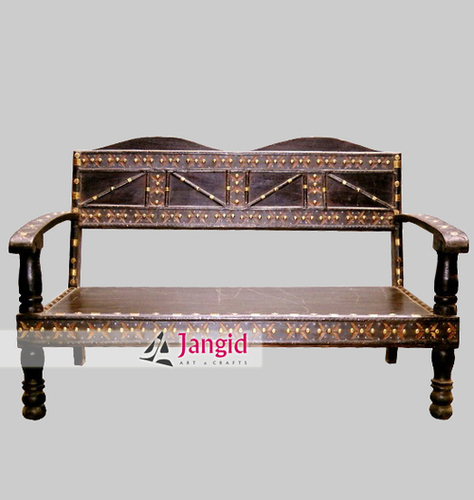 Traditional Antique Wooden Cart Living Room Sofa