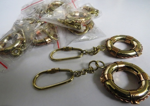 olid Brass & Copper Nautical Key Chain Life Ring Set Of 10
