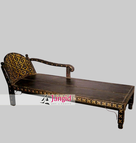 Indian Wooden Antique Style Iron and Brass Fitted Diwan