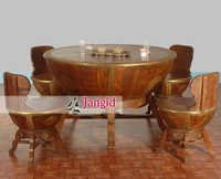 Solid Wooden Brass Work Nagada Shape Dining Table