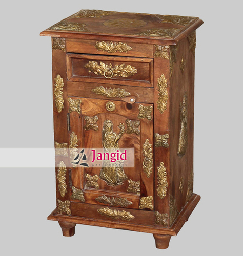 Indian Wooden Handmade Brass fitted Bedside