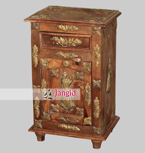 Indian Wooden Handmade Brass fitted Bedside