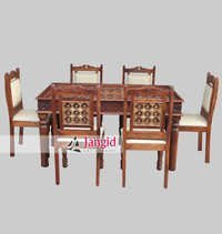 Indian Hand Carved Brass Fitted Dining Room Furniture